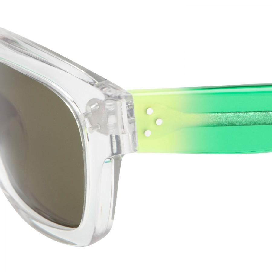 Celine Wayfarer Style Clear Acetate Sunglasses in Green