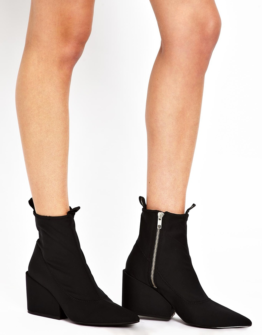Cheap monday Cube Black Heeled Ankle Boots in Black | Lyst