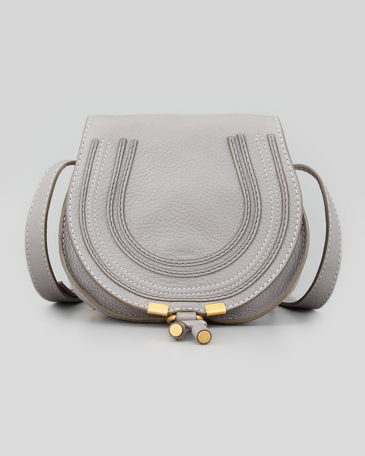 chlo marcie mini leather cross body bag in gray grey lyst. Black Bedroom Furniture Sets. Home Design Ideas