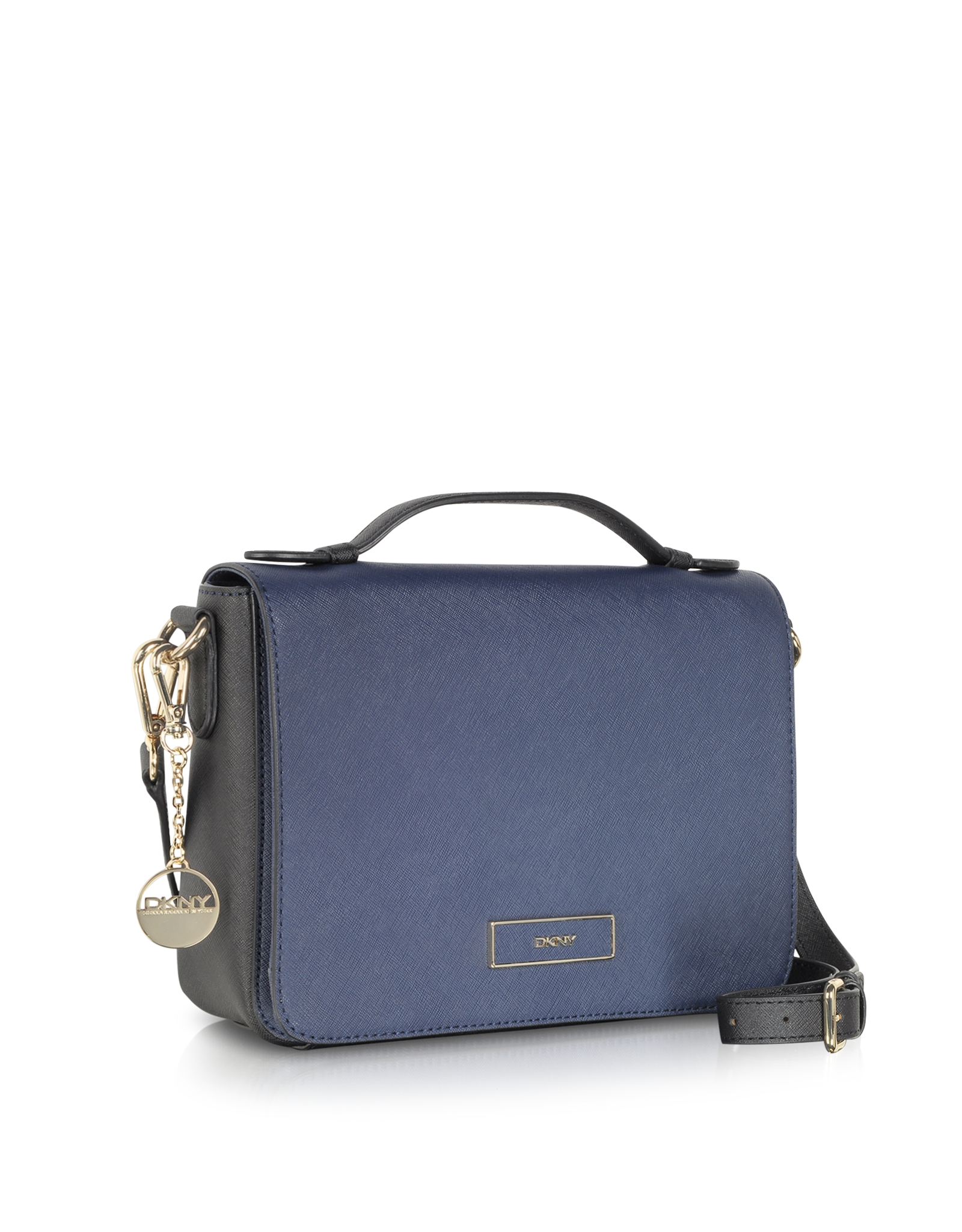 Dkny Color Block Saffiano Leather Flap Shoulder Bag in Blue | Lyst