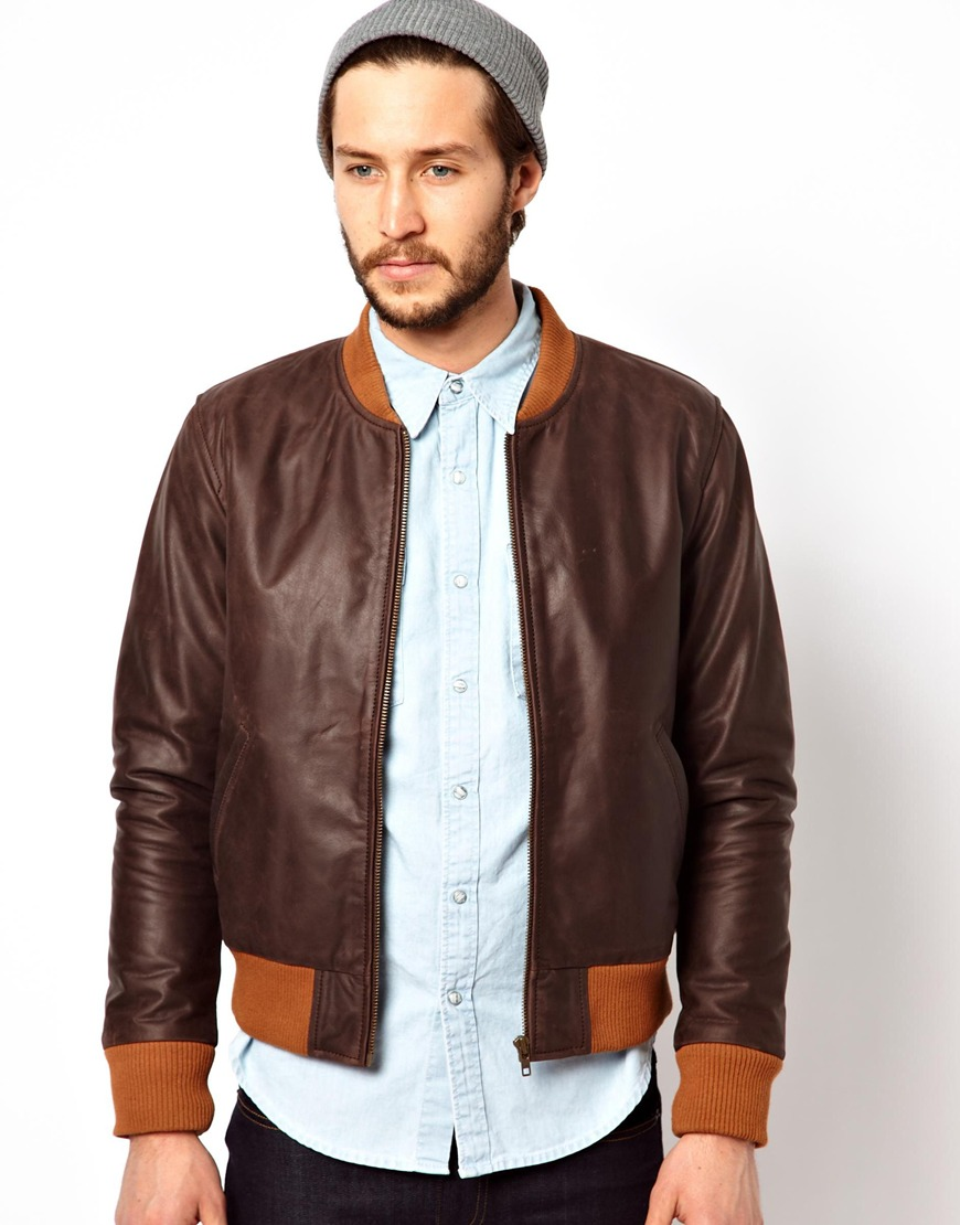 Edwin Leather Jacket Tour Bomber in Brown for Men | Lyst
