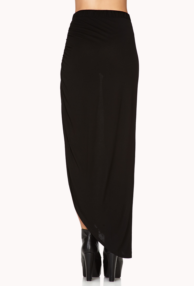 forever 21 sleek slit maxi skirt in black lyst