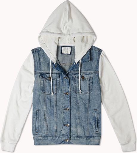 Forever 21 Musthave Hooded Denim Jacket in Blue (Light denimwhite