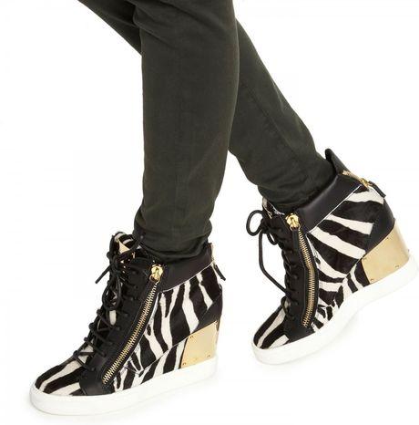 935c96564819f Giuseppe Zanotti Zebra Print Wedge Hitop Trainers in Black | Lyst