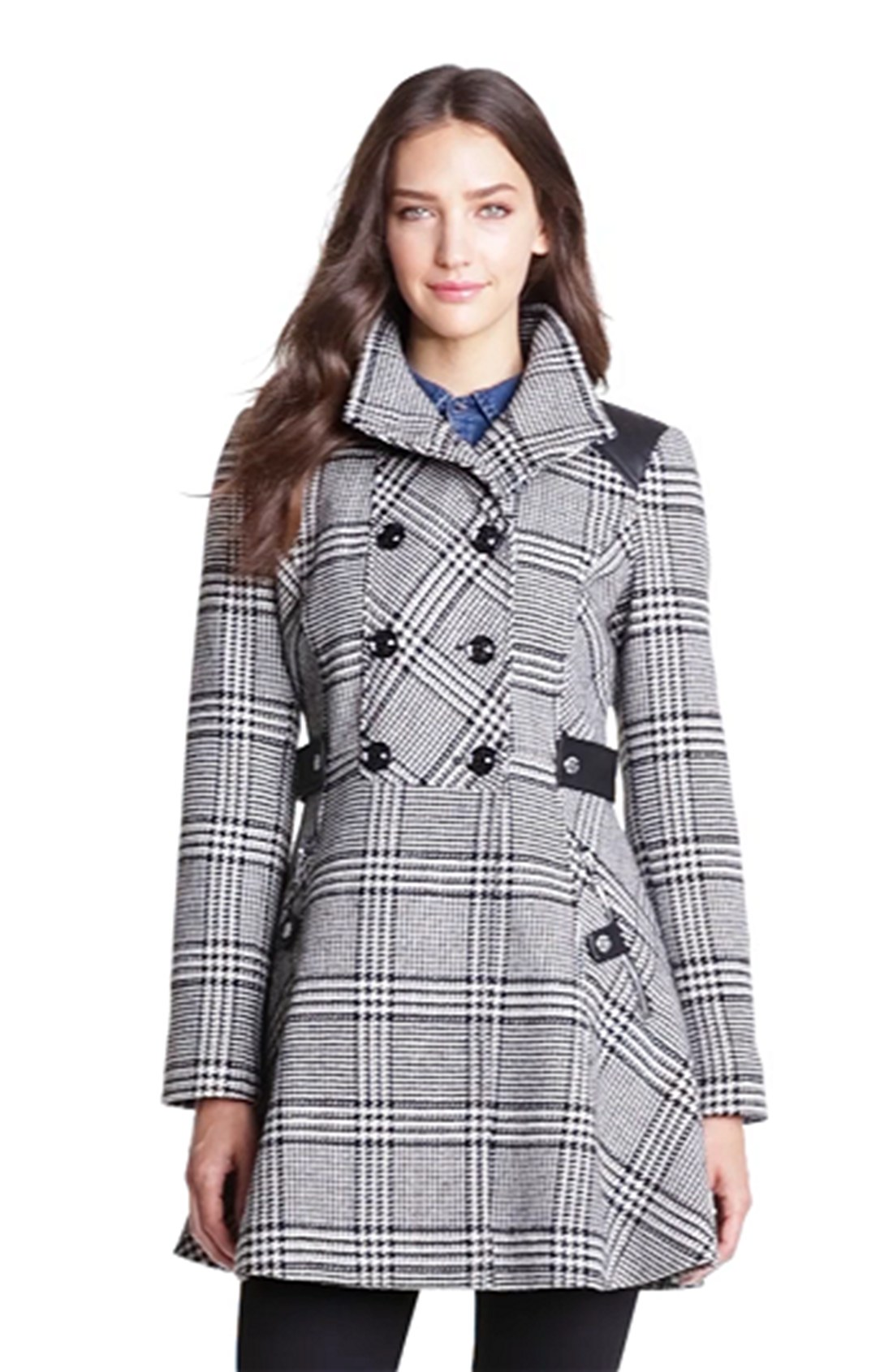 Guess Double Breasted Plaid A Line Coat In Black Black