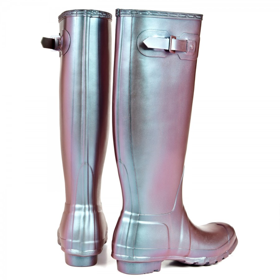 HUNTER Original Pearlescent Wellington Boots in Metallic