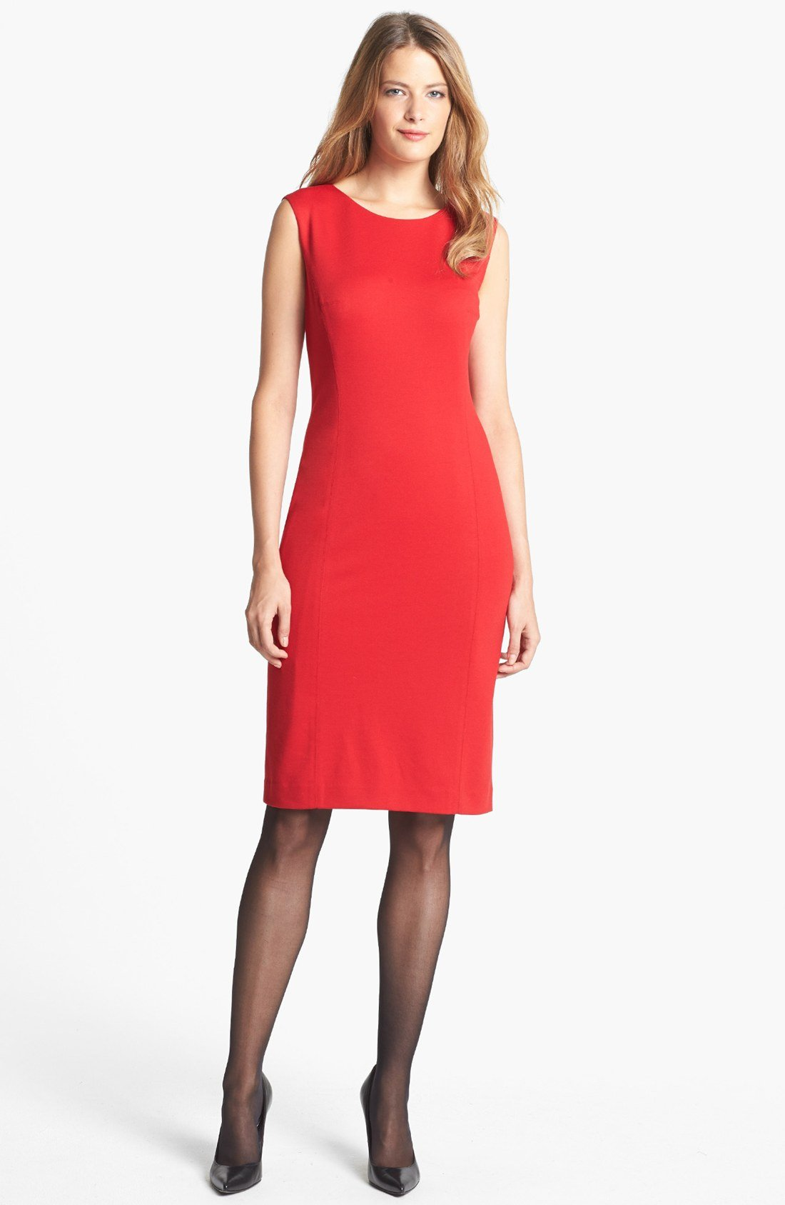 jones new york mallory ponte sheath dress in red lyst. Black Bedroom Furniture Sets. Home Design Ideas