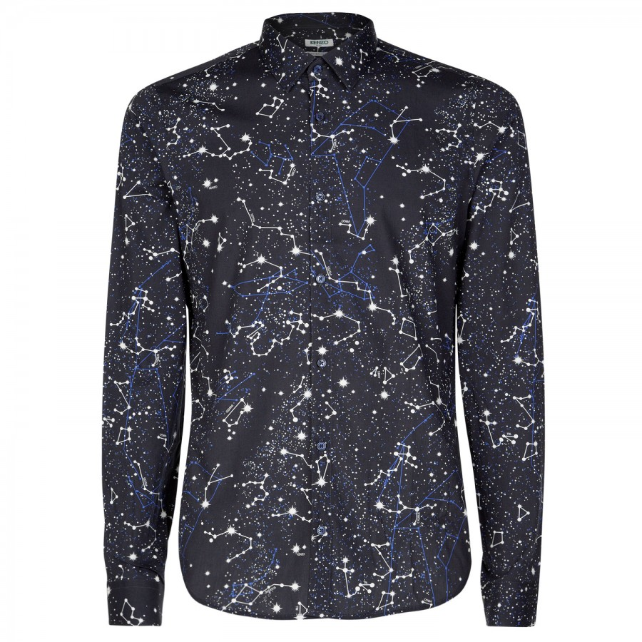 d7367e28bf6b KENZO Constellation Print Cotton Shirt in Blue for Men - Lyst