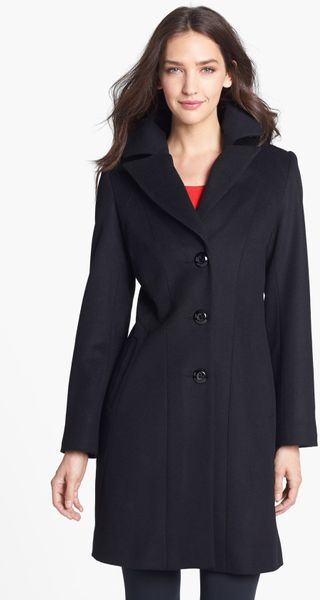 Kristen Blake Single Breasted Lambswool Blend Coat In