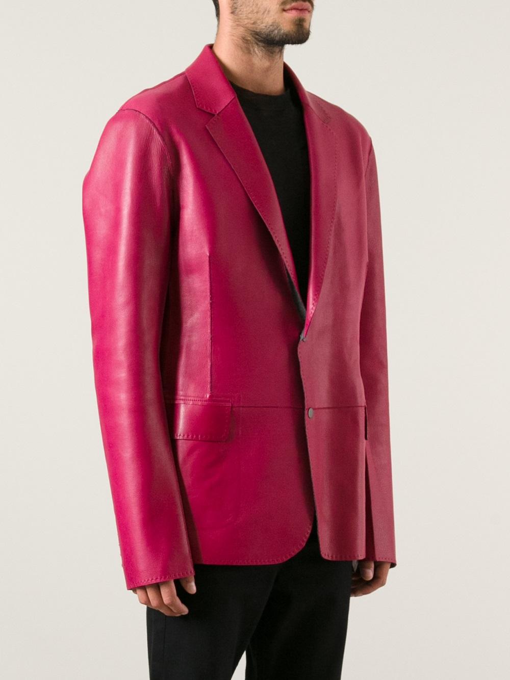 Lanvin Leather Jacket In Purple For Men Lyst