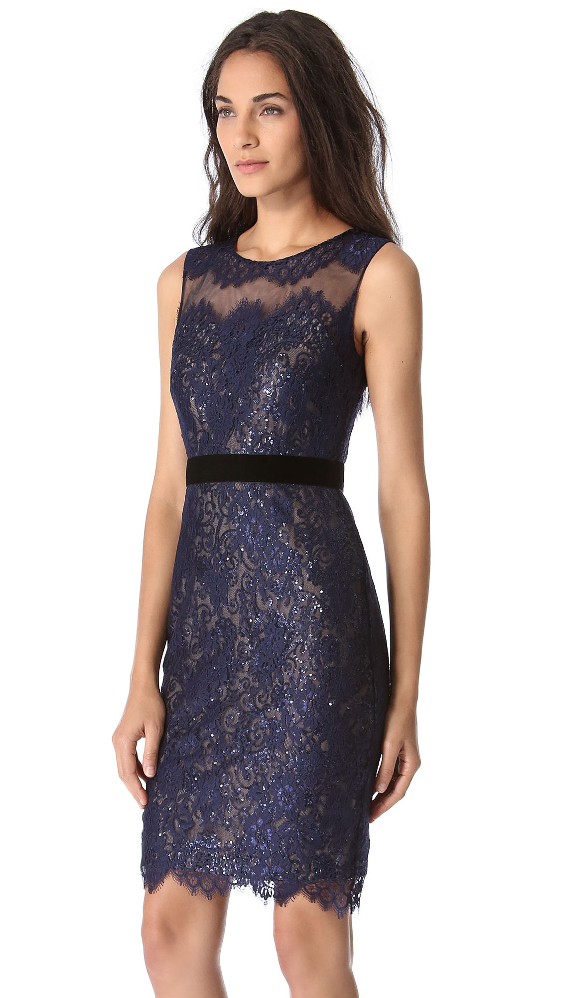 Lyst - Notte By Marchesa Lace Dress with Sequin Layer in Blue