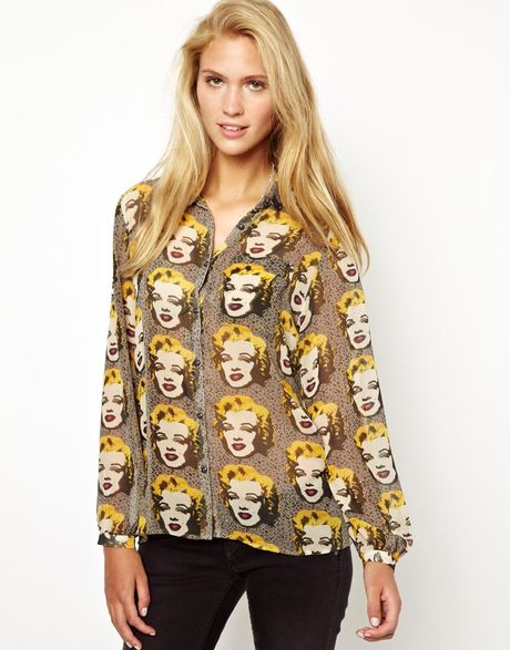 pepe jeans andy warhol marilyn shirt with open back in. Black Bedroom Furniture Sets. Home Design Ideas