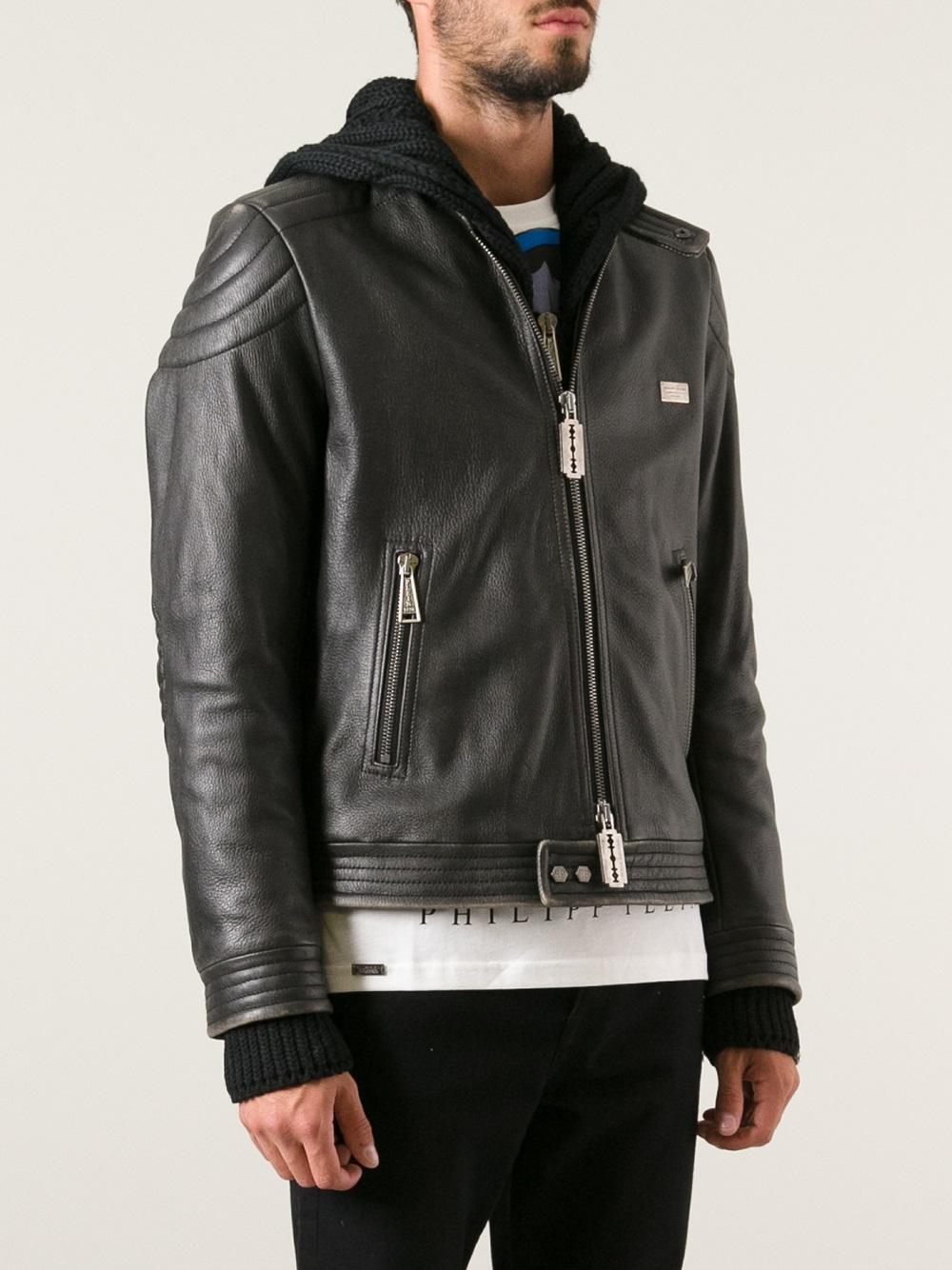 philipp plein stud skull leather jacket in black for men lyst. Black Bedroom Furniture Sets. Home Design Ideas