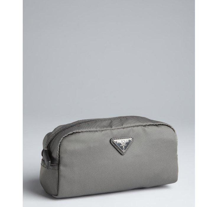 612ff3520c Prada Grey Nylon Zip Small Cosmetic Pouch in Gray (grey)
