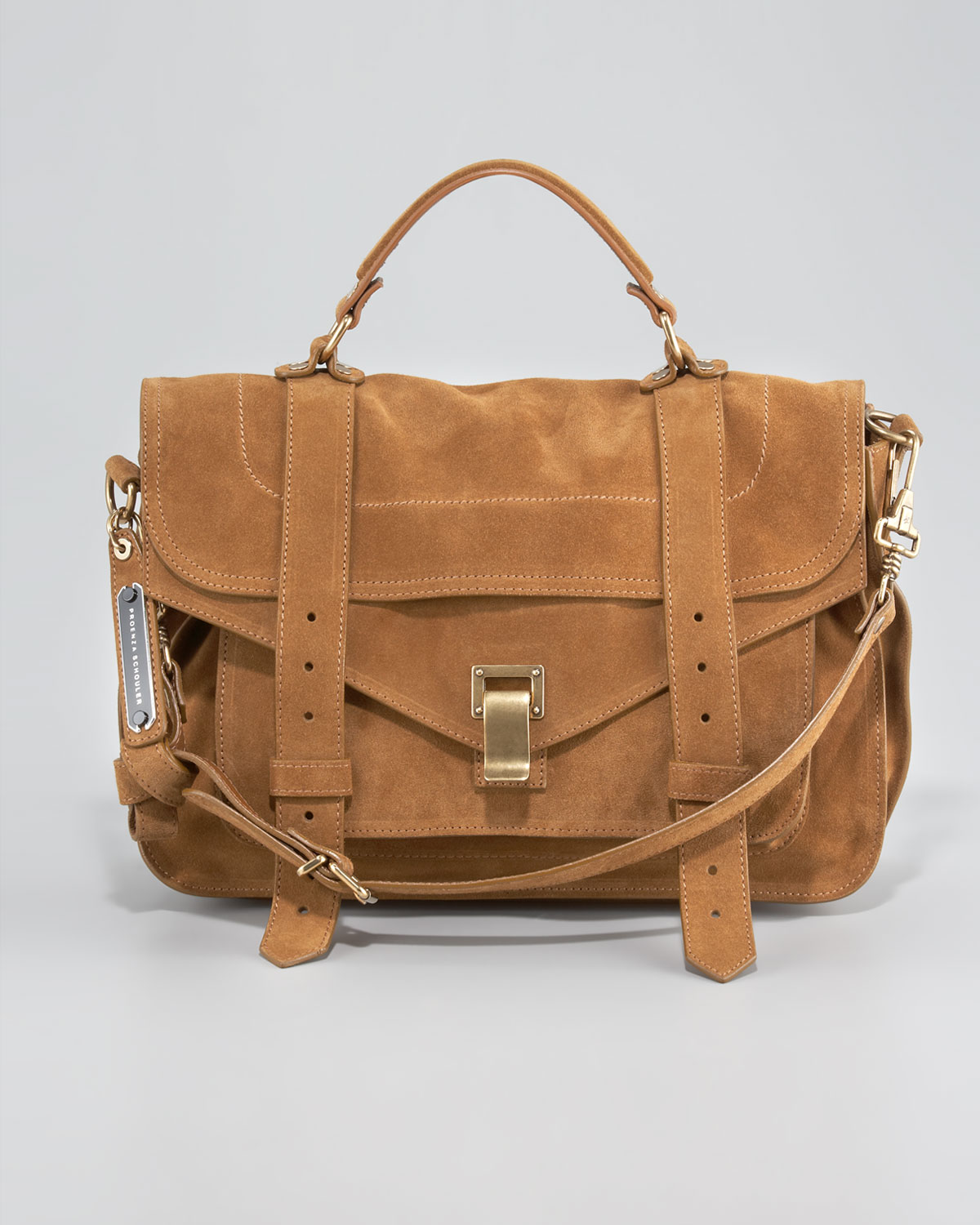 Proenza schouler Ps1 Medium Suede Satchel Bag Tobacco in Brown | Lyst
