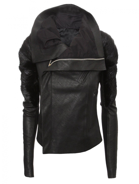 Rick owens Womens Monkey Shoulder Leather Biker Jacket Black in ...