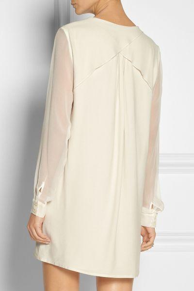 Thakoon Addition Silk Chiffon Sleeved Cotton Dress In