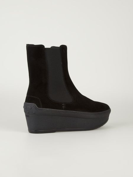tod s wedge chelsea boots in black lyst