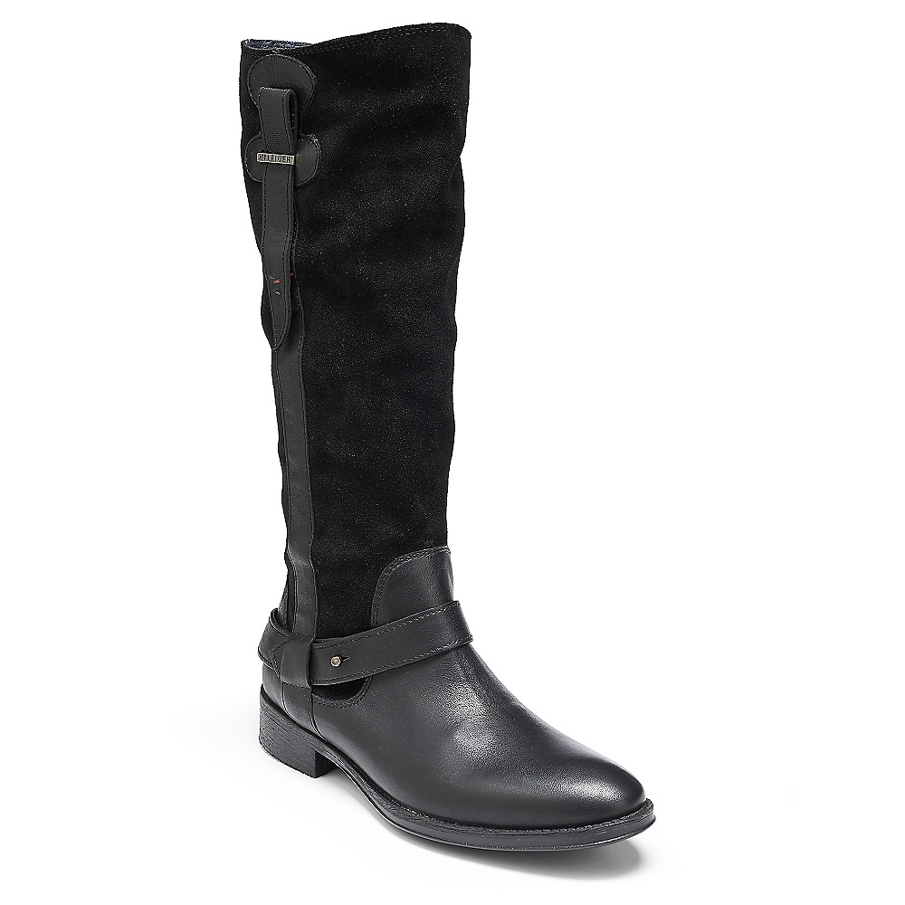 hilfiger colorblock suede leather flat boot in black