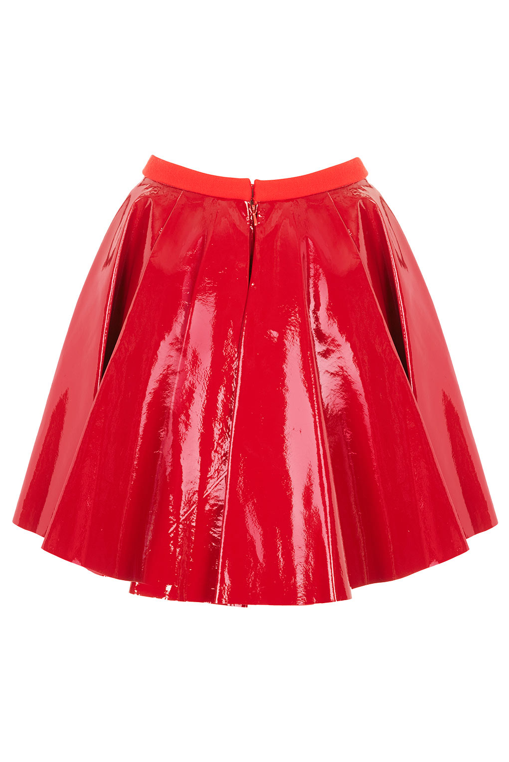 topshop patent leather flippy skirt by unique in lyst