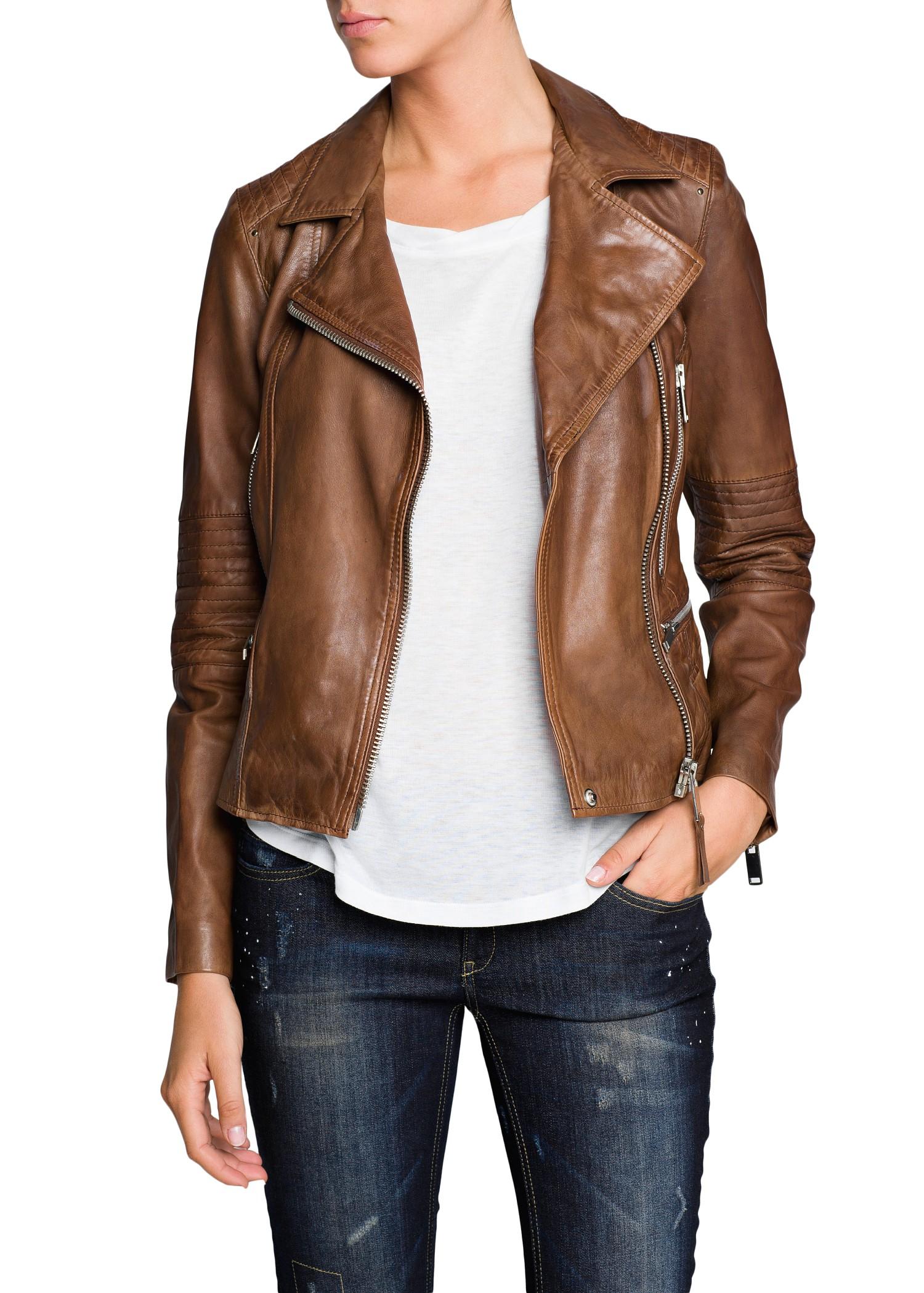 mango leather biker jacket in brown lyst. Black Bedroom Furniture Sets. Home Design Ideas