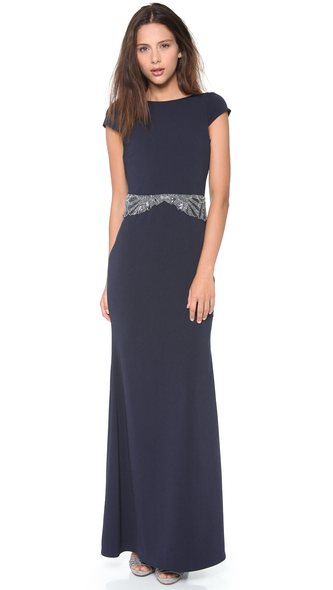 Badgley Mischka Cowl Back Beaded Gown In Blue Lyst