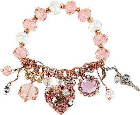 Betsey Johnson Vintage Pink Charm Bracelet in Pink - Lyst