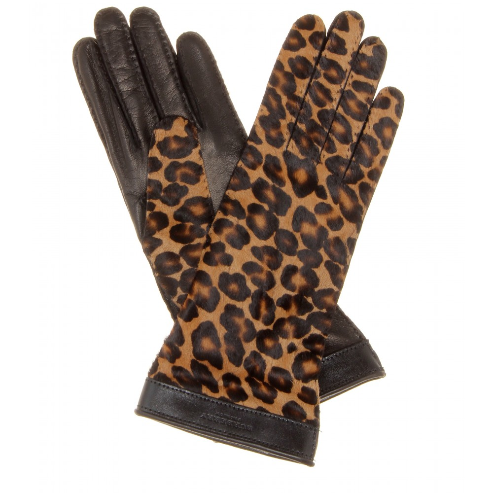 Burberry Prorsum Jenny Leopard Print Calf Hair And Leather