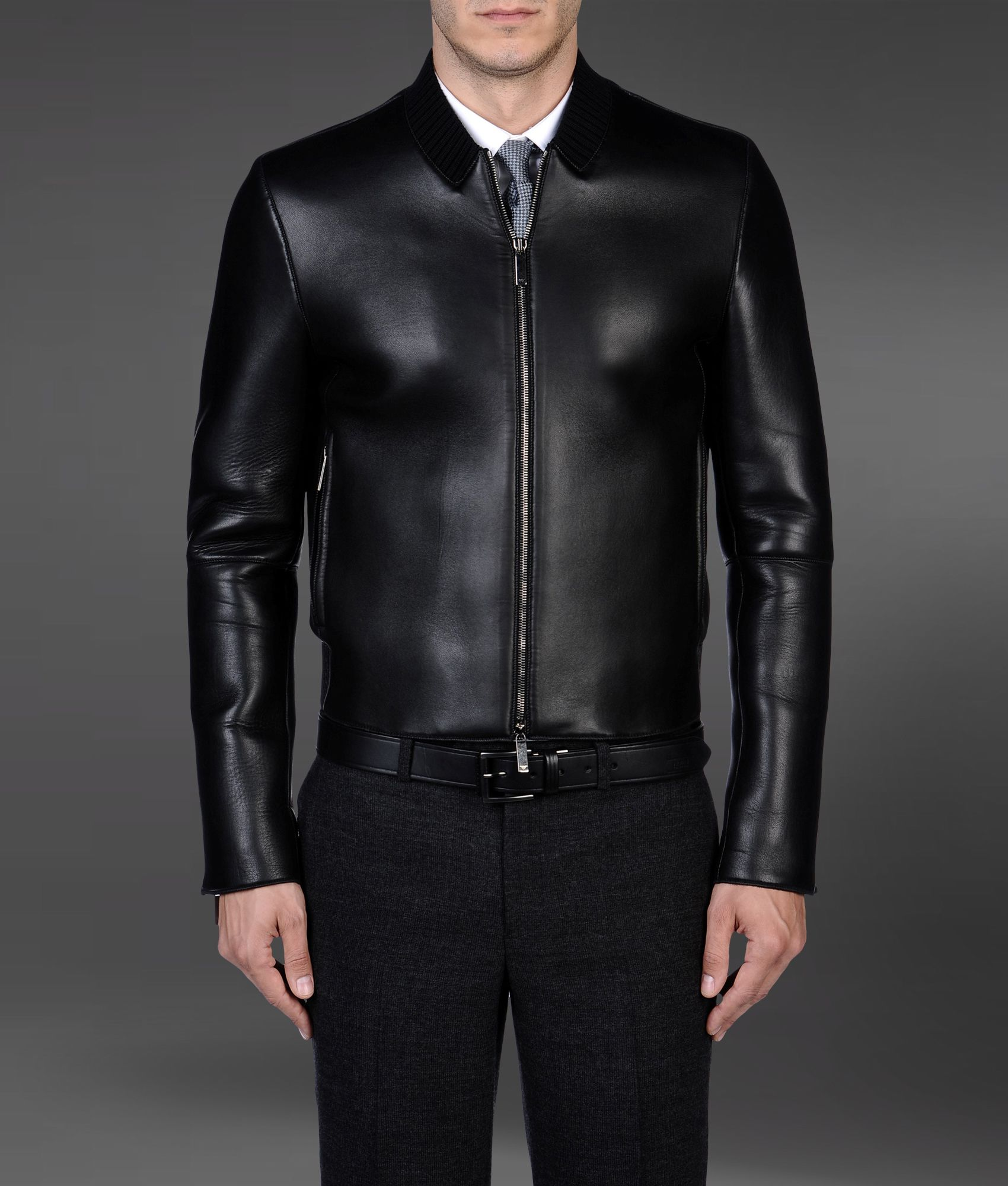 Emporio armani leather bomber jacket with knit collar in black for men
