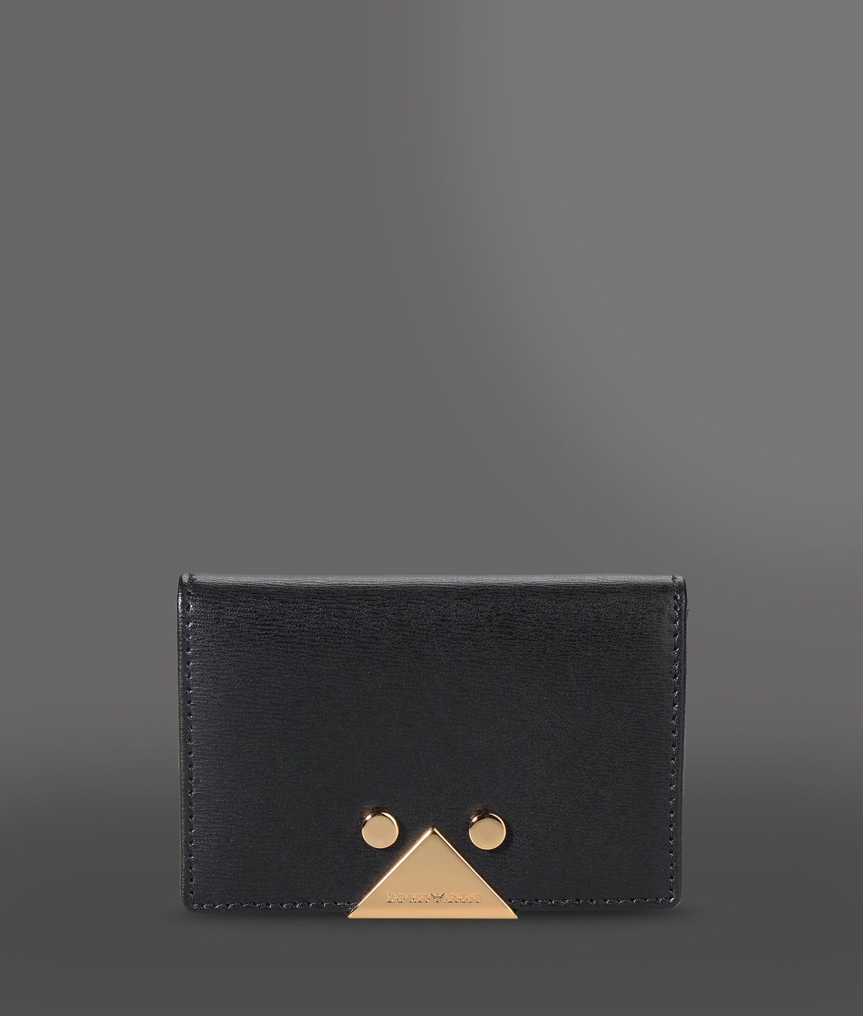Lyst - Emporio Armani Business Card Holder In Boarded Calfskin in Black
