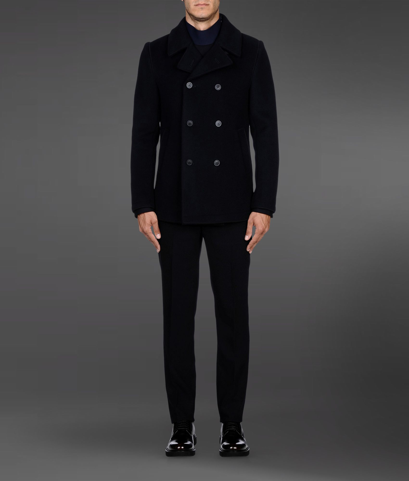 outstanding features selected material shades of Emporio Armani Doublebreasted Pea Coat with Boiled Wool ...