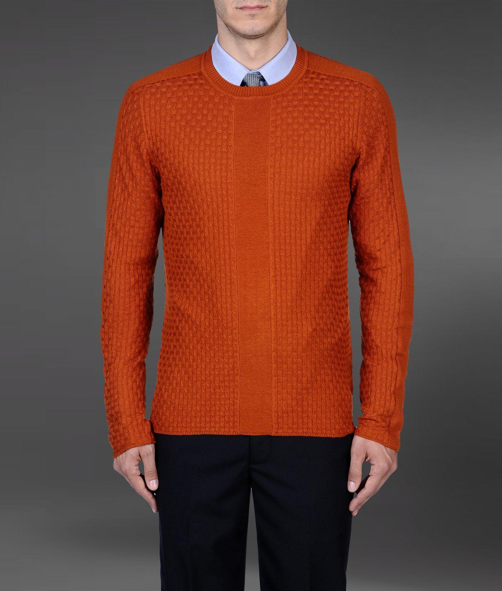 lyst emporio armani sweater in orange for men. Black Bedroom Furniture Sets. Home Design Ideas