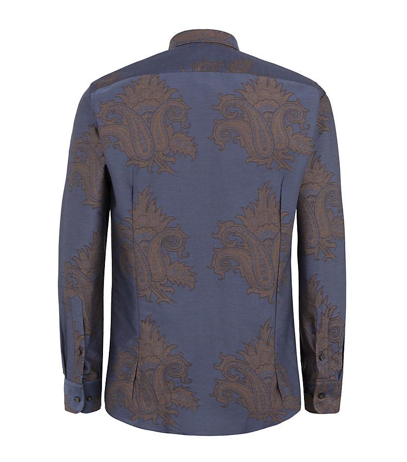 Etro Scattered Paisley Shirt in Navy (Blue) for Men