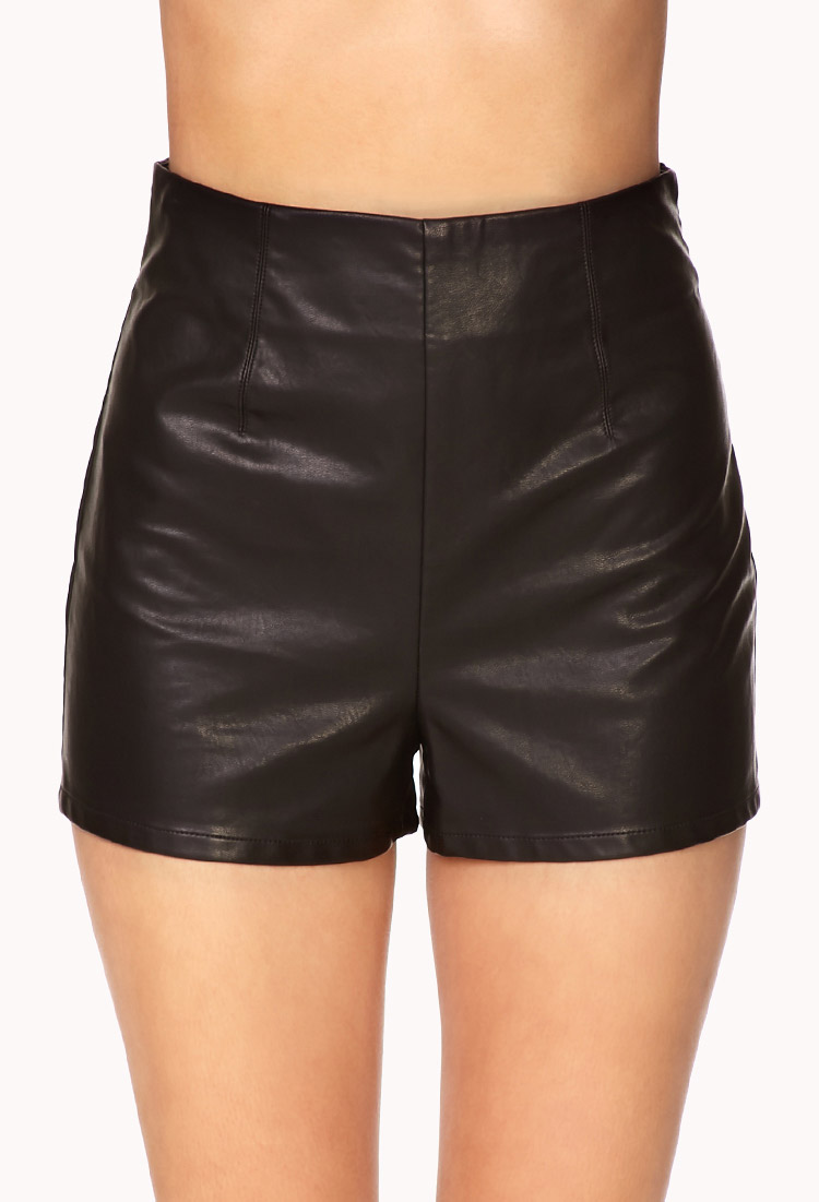 Forever 21 High-Waisted Faux Leather Shorts in Black | Lyst