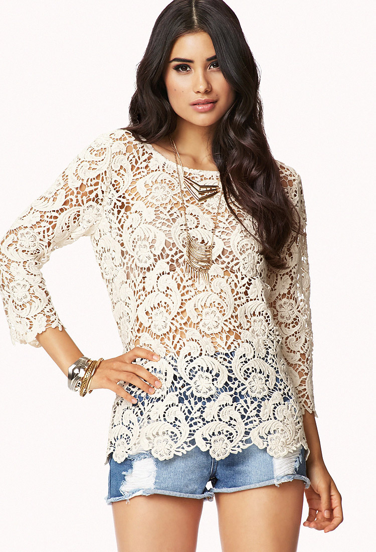 Forever 21 Scalloped Crochet Top In Natural Lyst