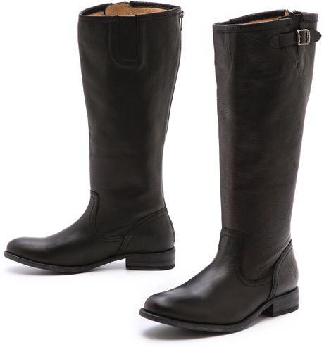 Frye Pippa Back Zip Tall Boots in Black