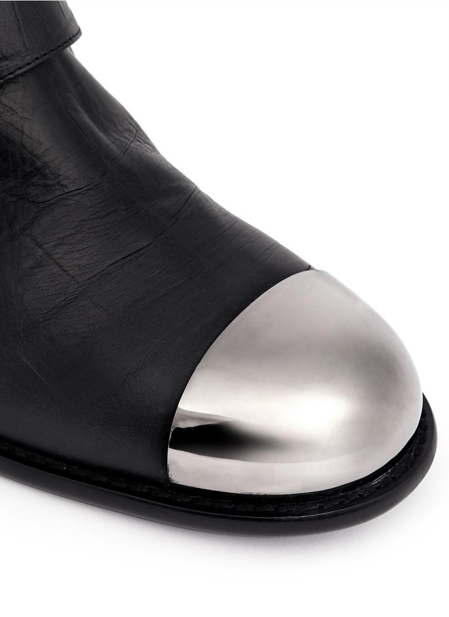 Lyst Giuseppe Zanotti Croc Embossed Shoe Cap Buckle