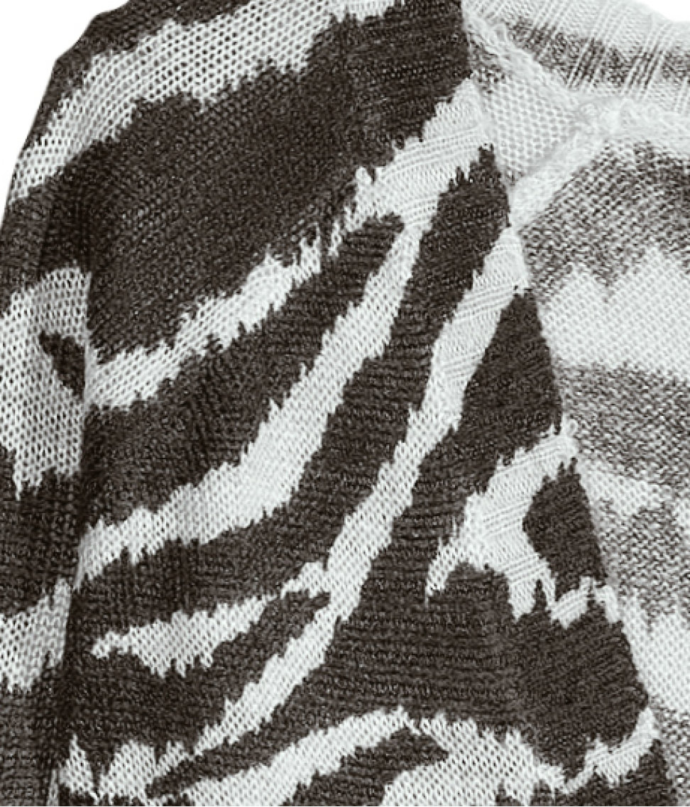 Zebra Print Knitting Pattern : H m knitted cardigan in animal zebra print lyst