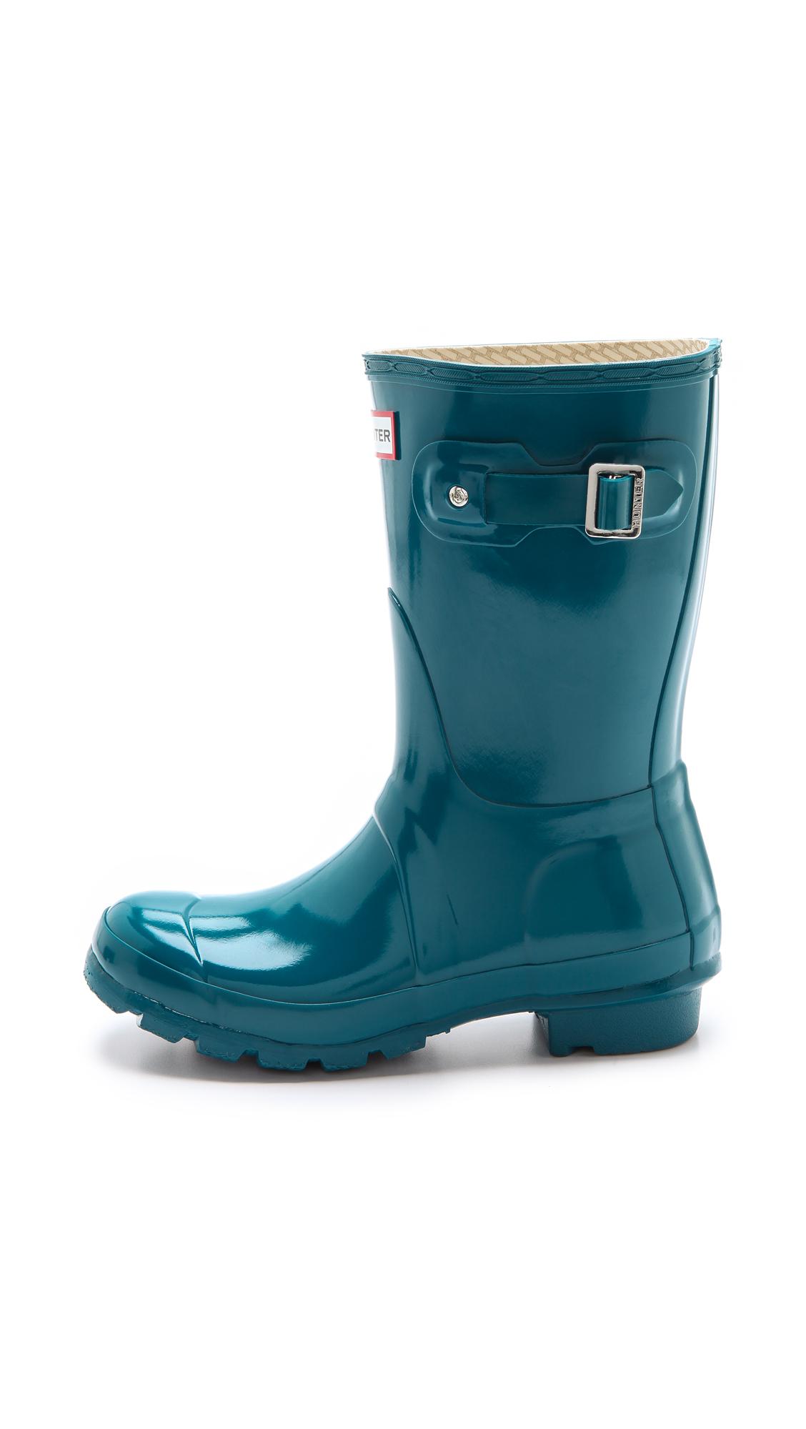 Hunter Original Short Gloss Rain Boots In Blue Lyst