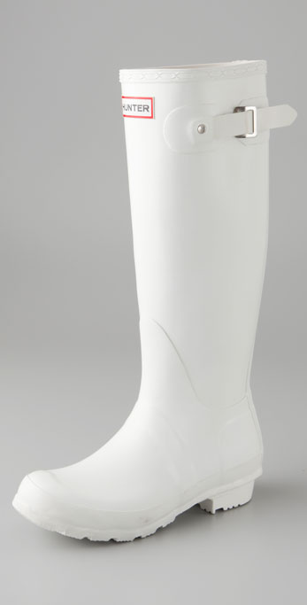 Hunter Original Hunter Wellington Rain Boots - Black in White | Lyst