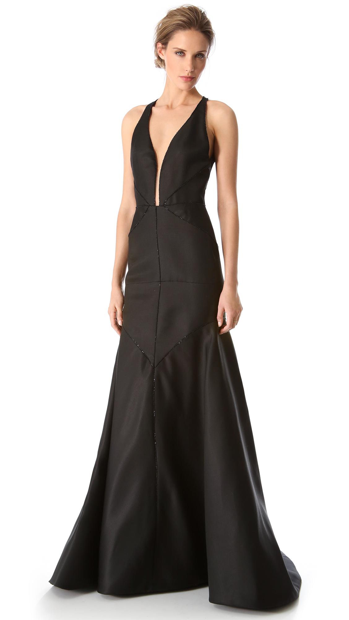 b62167ea9b10 Lyst - J. Mendel Deep V Halter Gown in Black