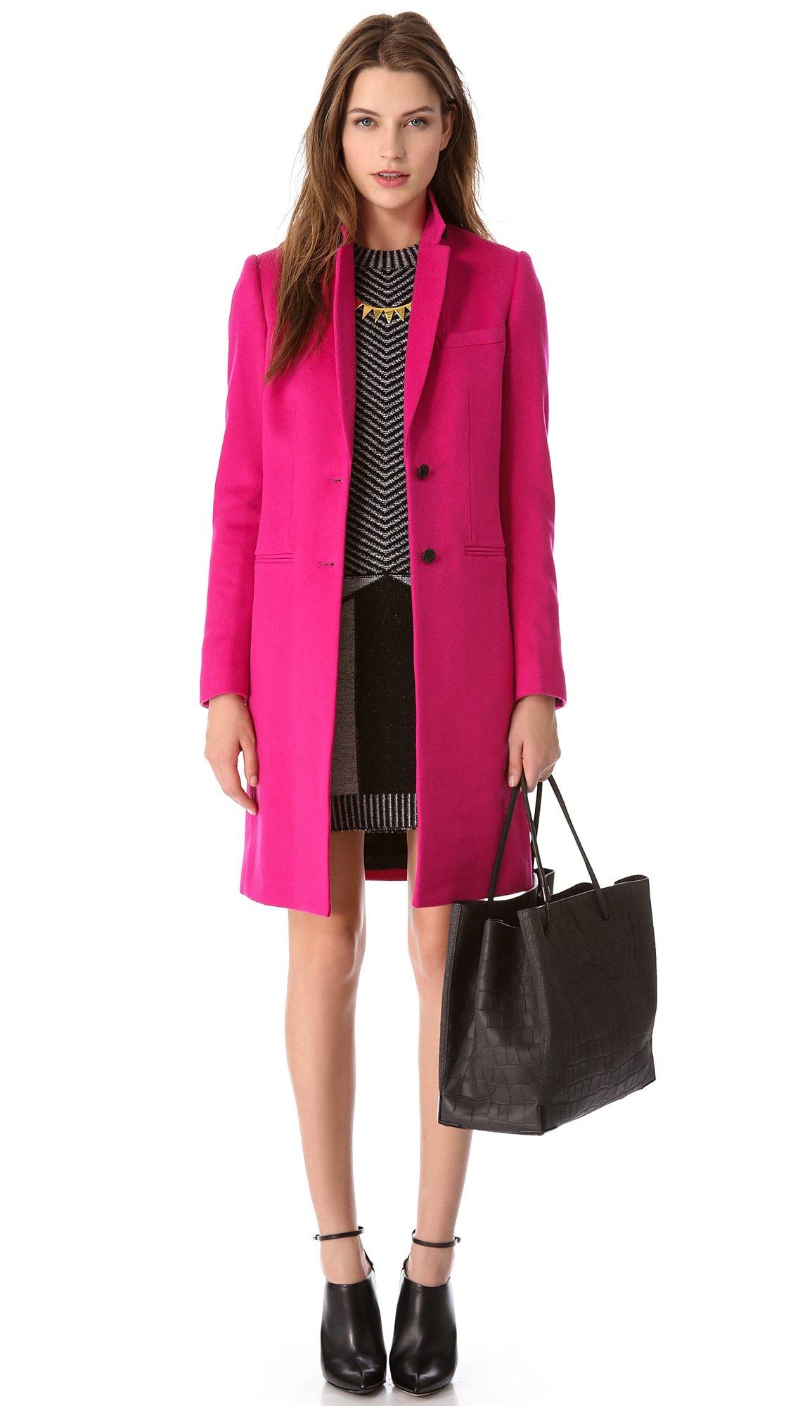 Joseph Man Long Wool Coat in Pink | Lyst