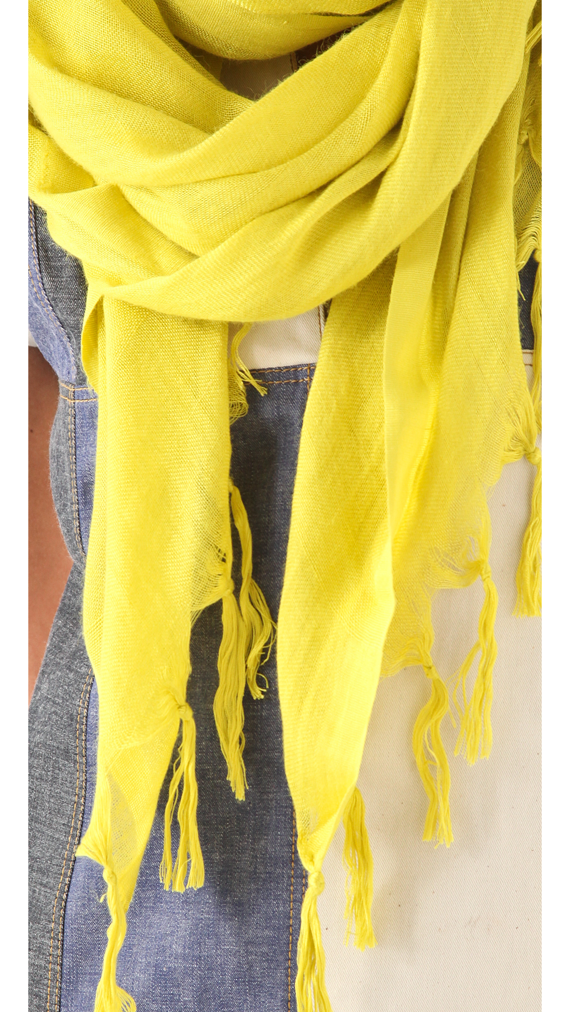 Love Quotes Scarf Love Quotes Knotted Tassel Linen Scarf  Charcoal In Yellow  Lyst