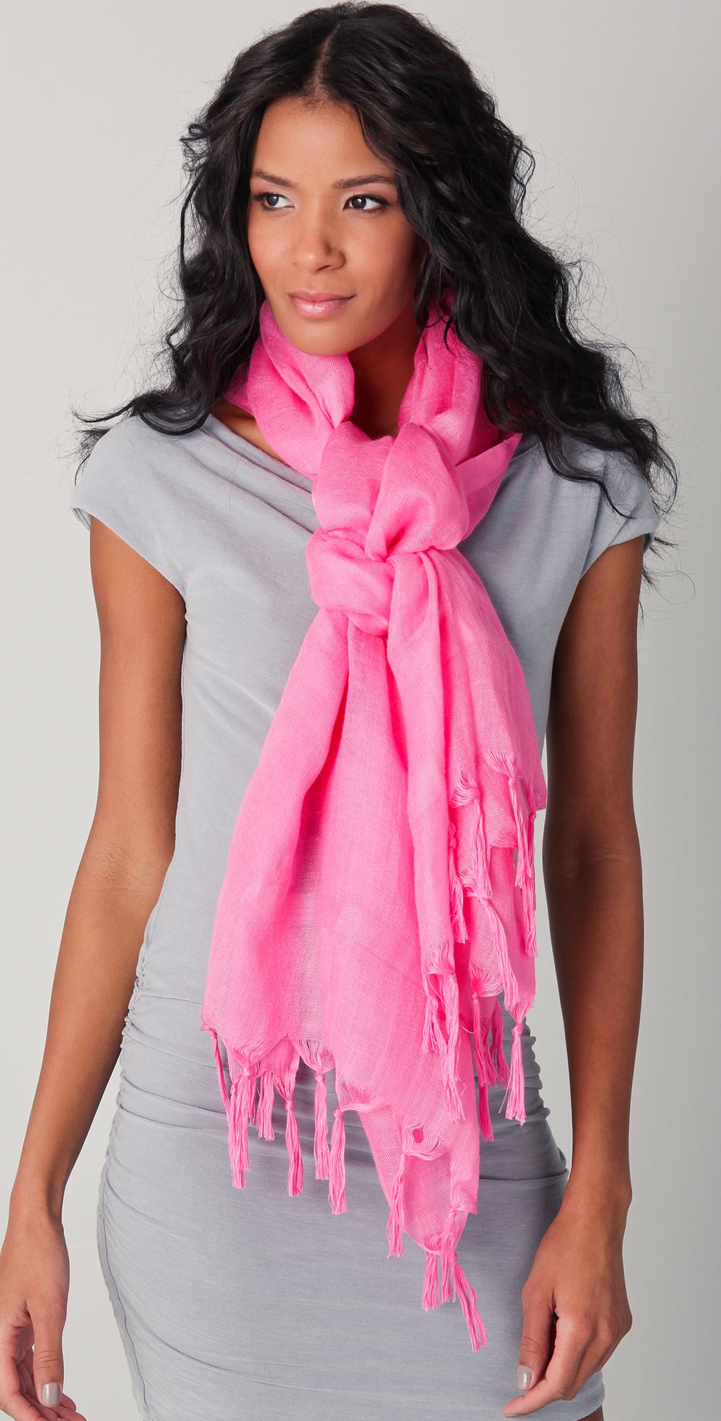 Love Quotes Scarf Love Quotes Knotted Tassel Linen Scarf In Pink  Lyst