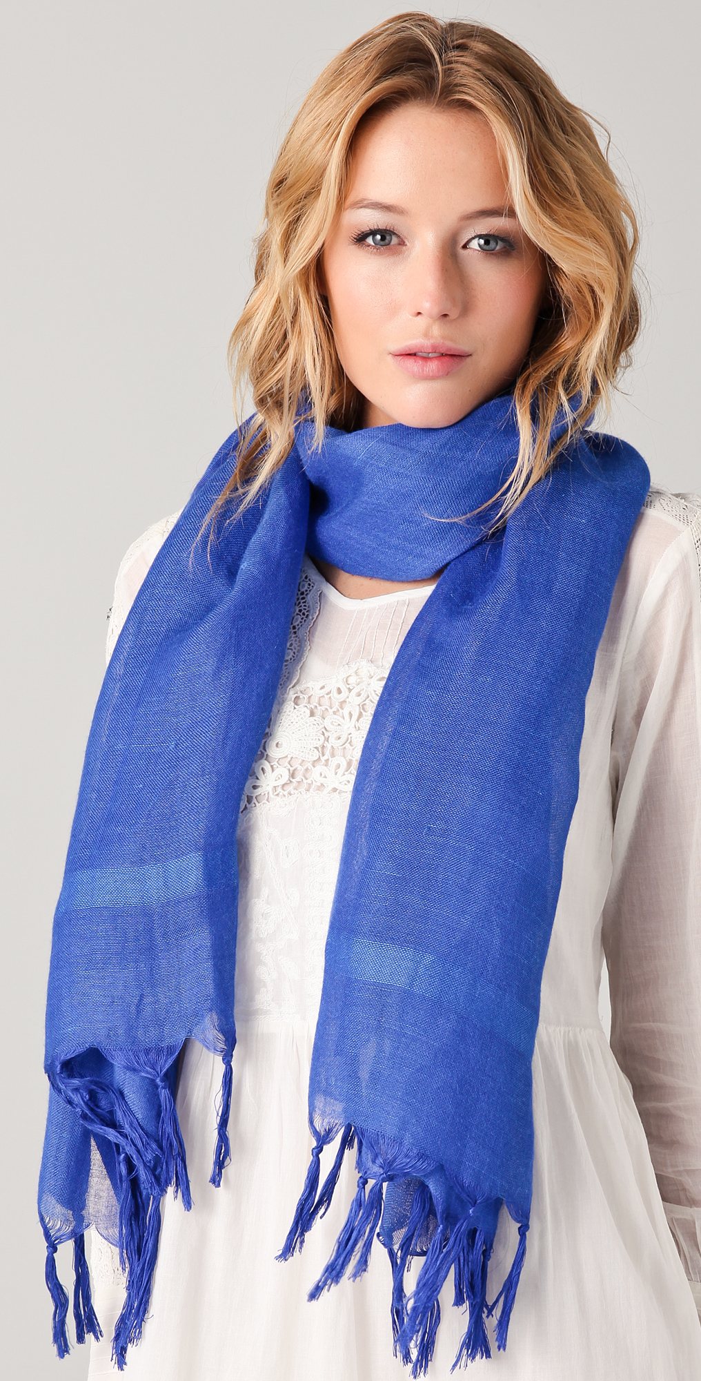 Love Quotes Scarf Love Quotes Knotted Tassel Linen Scarf In Blue  Lyst