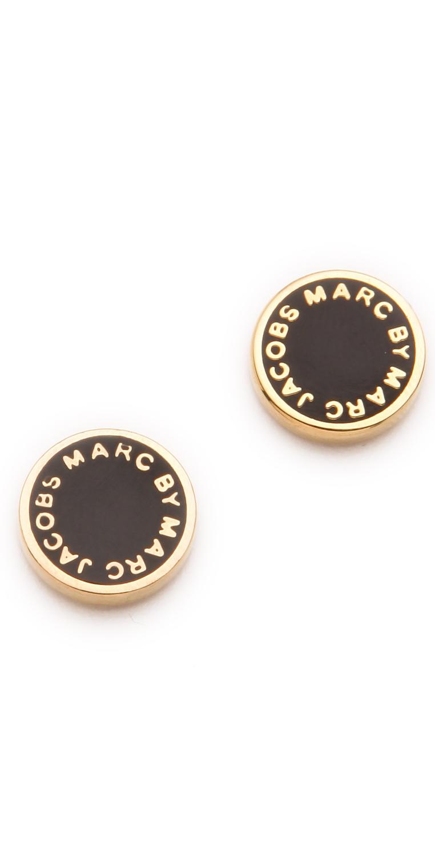 Marc By Marc Jacobs Logo Disc Stud Earrings In Black Lyst