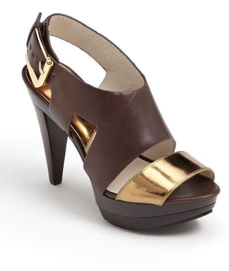 Michael Michael Kors Carla Sandal in Brown (Dark Chocolate)
