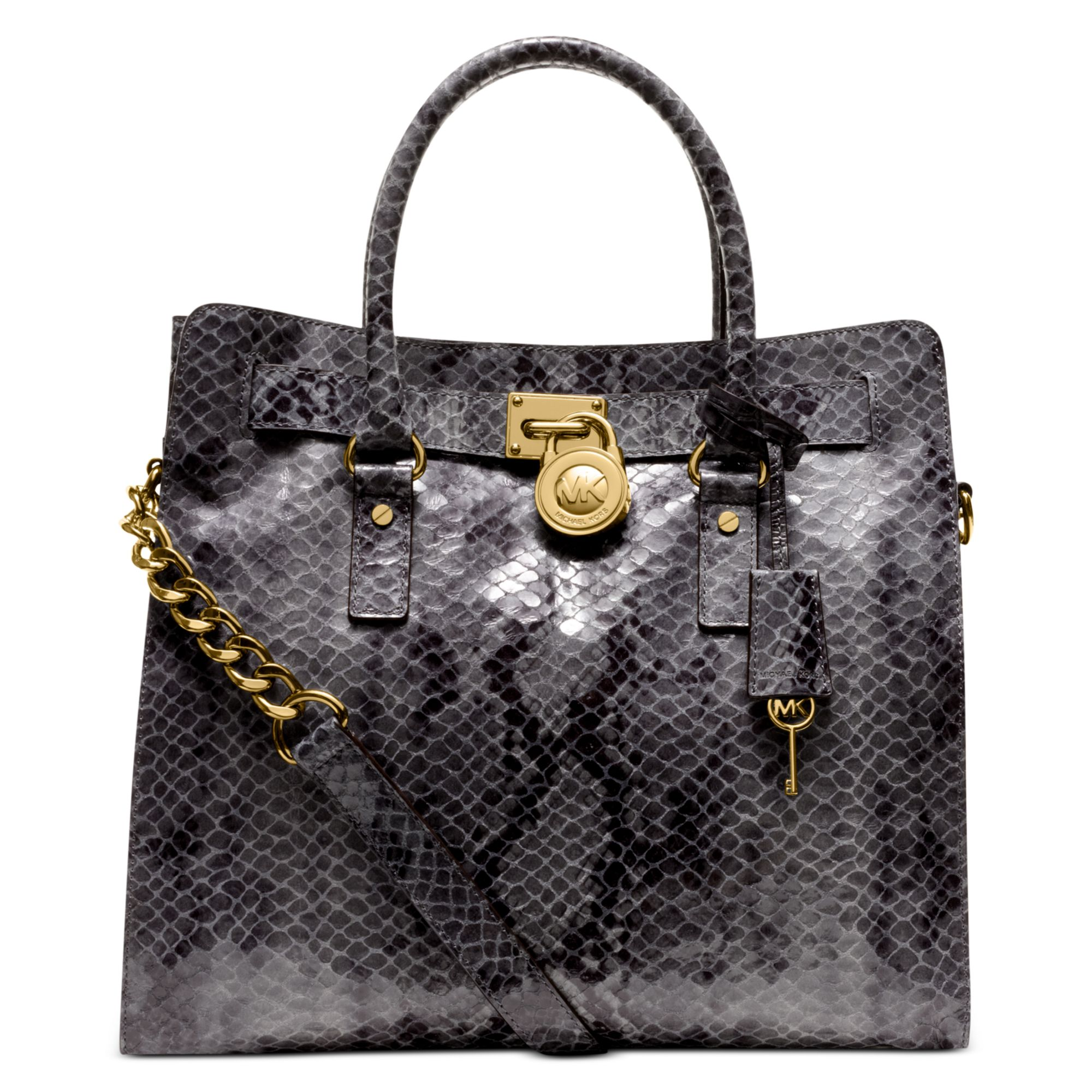 77ef7c305c78f6 Michael Kors Hamilton Large Python North South Tote in Gray - Lyst