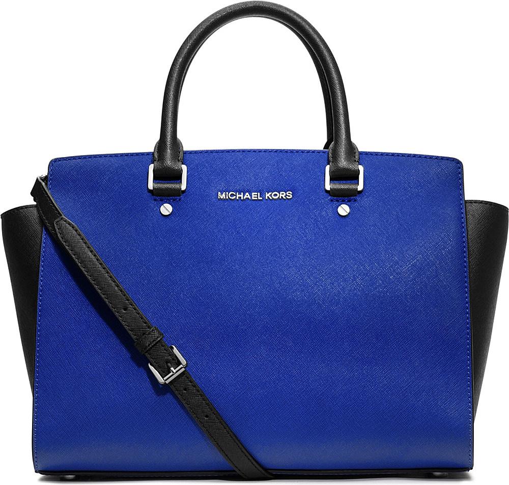michael kors selma large saffiano leather satchel in blue sapphire blk lyst. Black Bedroom Furniture Sets. Home Design Ideas