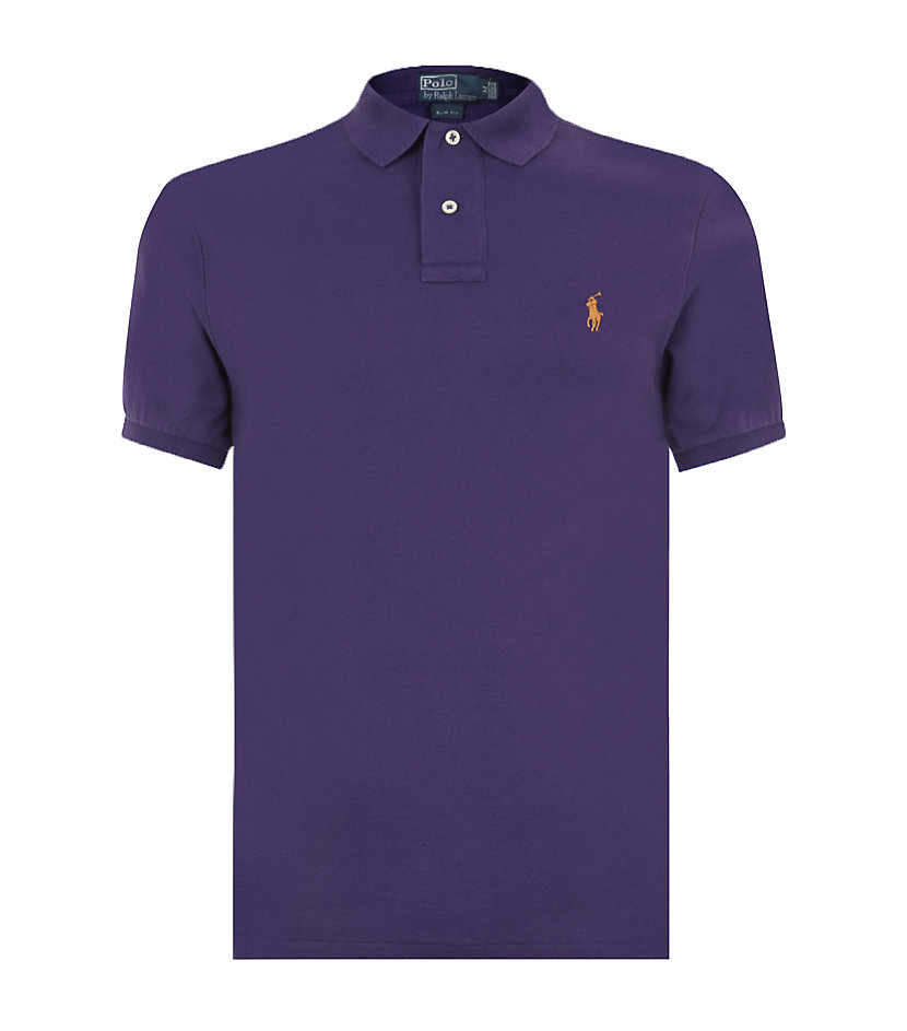 polo ralph lauren slim fit mesh polo in purple for men lyst. Black Bedroom Furniture Sets. Home Design Ideas